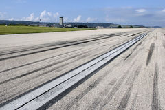 Traces on runway Royalty Free Stock Photo