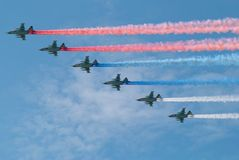 Traces of the Russian aircraft as tricolor flag. 6 Russian aircraft in the sky on the occasion of the 65th of the victory in WWII, May 9, 2010, Moscow, Russia Stock Photos