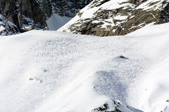 Traces of Ski Mountaineering. On the chain of Mont Blanc Royalty Free Stock Photography