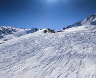 Traces of skiers in mountains Stock Photography