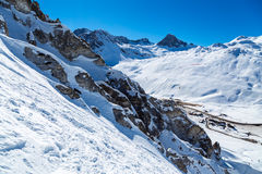 Traces of skiing and rock. View on rock and traces of skiing, Tignes, France Stock Photography