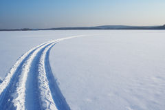 Traces on a snow. Winter landscape Royalty Free Stock Photo