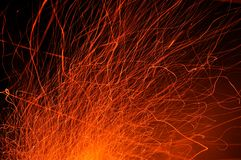 Traces of sparks from the fire at night. royalty free stock photo