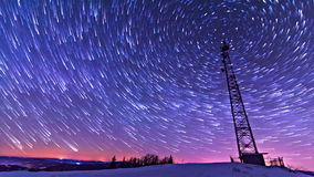 Traces of stars against the night sky, shot long exposure. stock footage