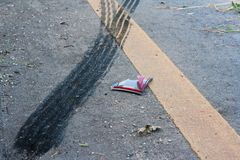 Traces on the street. A car accident. Traces of braking tires on the road surface Stock Photo