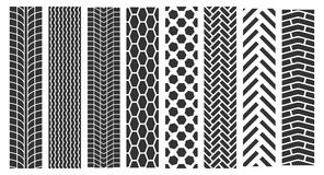 Traces of tires. Vector set of seamless tire prints Stock Images