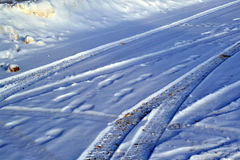 Traces of tread in snow machines. Traces of the tread in snow machines Stock Image