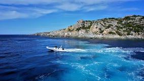 Traces in the Tyrrhenian Sea. stock image