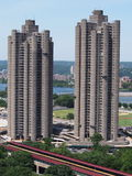 Tracey Towers Bronx NY. Tracey Towers completed in 1972 are two 41 and 38 story subsidized apartment building on Jerome-Ave in Bronx NY . They are the tallest stock photography