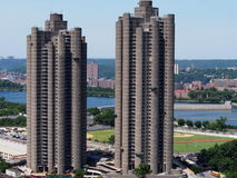 The Tracey Towers Bronx NY. Tracey Towers completed in 1972 are two 41 and 38 story subsidized apartment building on Jerome-Ave in Bronx NY . They are the stock photography
