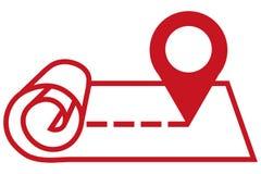 Tracez l'icône d'indicateur, symbole d'emplacement de GPS, signe de goupille de carte, icône de carte se connectent le fond blanc illustration libre de droits