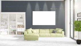 Tracez l'intérieur avec la vue panoramique, divan vert de peluche, cadre vide illustration libre de droits