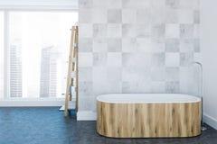 Tracez la salle de bains de luxe blanche intérieure, baquet en bois illustration de vecteur