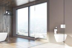 Tracez la salle de bains, murs en bois, un baquet blanc, toilette illustration stock