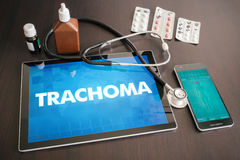 Trachoma (infectious disease) diagnosis medical concept. On tablet screen with stethoscope Stock Photography