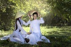Trachtenkleid AO Dai Vietnam Stockbilder