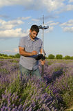 Tracing in a lavender field. In the countryside Royalty Free Stock Photography