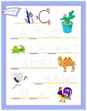 Tracing letter C for study English alphabet. Printable worksheet for kids. Logic puzzle game. Education page for kindergarten. Vector image. Developing children vector illustration