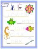 Tracing letter F for study English alphabet. Printable worksheet for kids. Logic puzzle game. Education page for kindergarten. Vector image. Developing children vector illustration