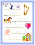 Tracing letter H for study English alphabet. Printable worksheet for kids. Logic puzzle game. Education page for kindergarten. Vector image. Developing children stock illustration