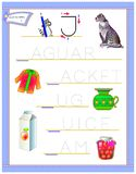 Tracing letter J for study English alphabet. Printable worksheet for kids. Logic puzzle game. Education page for kindergarten. Vector image. Developing children royalty free illustration