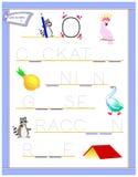 Tracing letter O for study English alphabet. Printable worksheet for kids. Logic puzzle game. Education page for kindergarten. Vector image. Developing children vector illustration