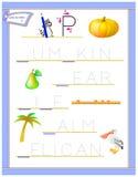 Tracing letter P for study English alphabet. Printable worksheet for kids. Logic puzzle game. Education page for kindergarten. Vector image. Developing children stock illustration