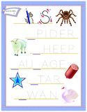 Tracing letter S for study English alphabet. Printable worksheet for kids. Logic puzzle game. Education page for kindergarten. Vector image. Developing children royalty free illustration