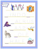 Tracing letter W for study English alphabet. Printable worksheet for kids. Logic puzzle game. Education page for kindergarten. Vector image. Developing children royalty free illustration