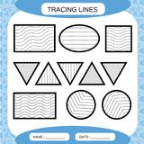 Tracing Lines. Kids education. Preschool worksheet. Basic writing. Kids doing worksheets. Fine motor skills. Waves and Stock Image
