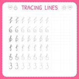 Tracing lines. Worksheet for kids. Trace the pattern. Basic writing. Preschool or kindergarten worksheets. Working pages for child vector illustration