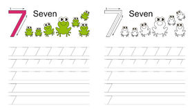 Tracing worksheet for figure seven Royalty Free Stock Photo