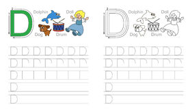 Tracing worksheet for letter D Stock Photos