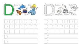 Tracing worksheet for letter D vector illustration