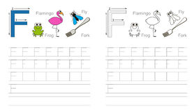 Tracing worksheet for letter F Stock Photo