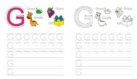 Tracing worksheet for letter G. Vector exercise illustrated alphabet. Learn handwriting. Page to be colored. Tracing worksheet for letter G vector illustration