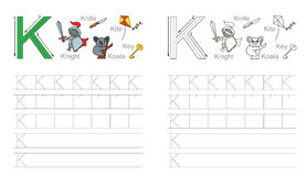 Tracing worksheet for letter K Stock Photos