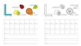 Tracing worksheet for letter L stock illustration