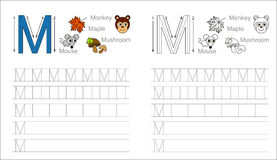 Tracing worksheet for letter M Stock Photo