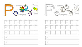 Tracing worksheet for letter P. Vector exercise illustrated alphabet. Learn handwriting. Page to be colored. Tracing worksheet for letter P Royalty Free Stock Photos