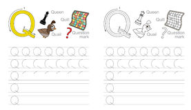 Tracing worksheet for letter Q Stock Images