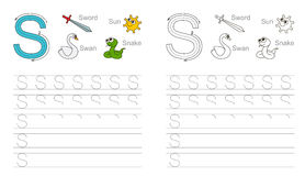 Tracing worksheet for letter S Stock Photo