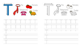 Tracing worksheet for letter T Stock Photography