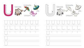 Tracing worksheet for letter U vector illustration