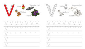 Tracing worksheet for letter V Royalty Free Stock Photo