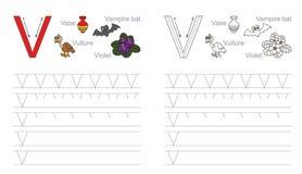 Tracing worksheet for letter V vector illustration