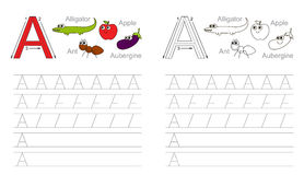 Tracing worksheet for letter A. Vector exercise illustrated alphabet. Learn handwriting. Page to be colored. Tracing worksheet for letter A royalty free illustration