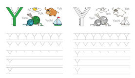 Tracing worksheet for letter Y Royalty Free Stock Photography