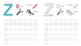 Tracing worksheet for letter Z Royalty Free Stock Photo