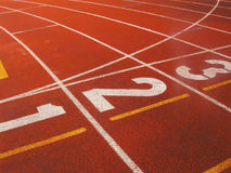 The Track 03. Close up of a track field showin the numbers of the places Stock Image